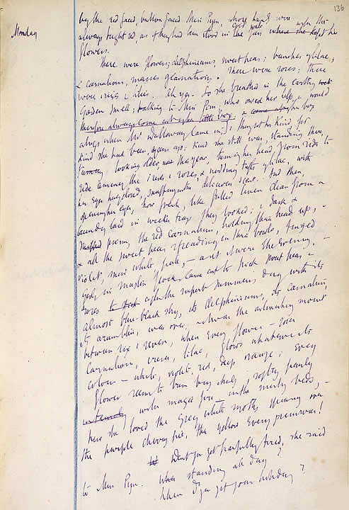 Página del manuscrito de Mrs. Dalloway